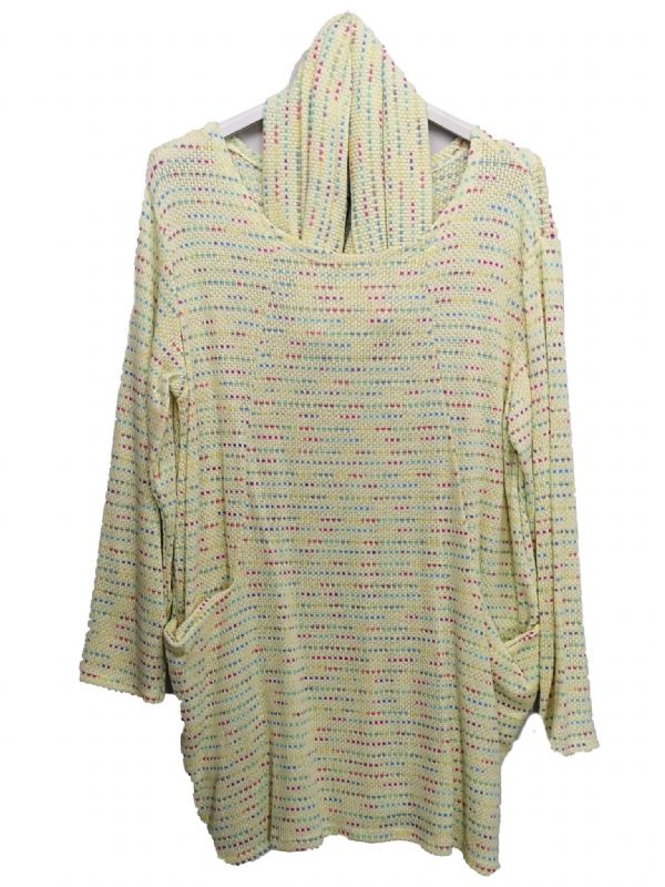Womens 2 Pocket Tweed Snood Tunic